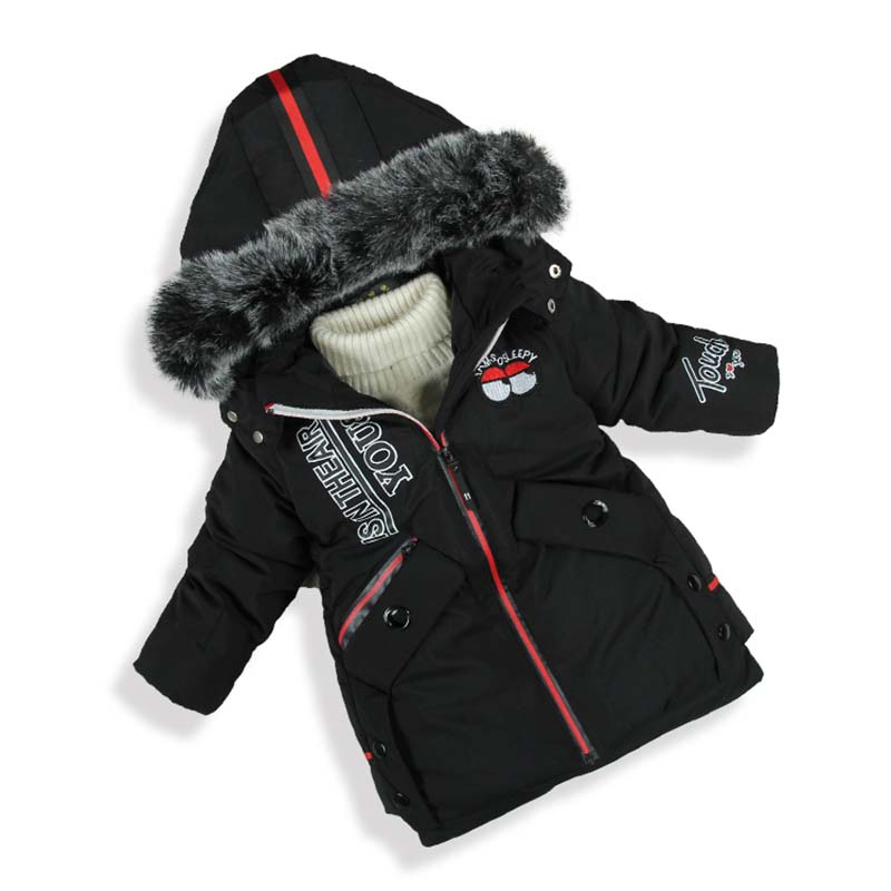 children's winter jackets boys parka kids thicken coat outerwear hooded Cotton-padded jacket 4-12 years big children's clothing 2017 limited full zipper solid winter new cotton jacket women slim hooded large fur collar female fashion warm parkas overdress