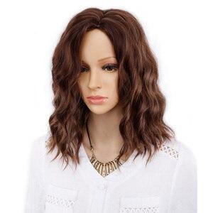 Image 1 - Amir perruque Bob synthétique courte ondulée, postiche Blonde, perruque ondulée à couleur naturelle pour femmes