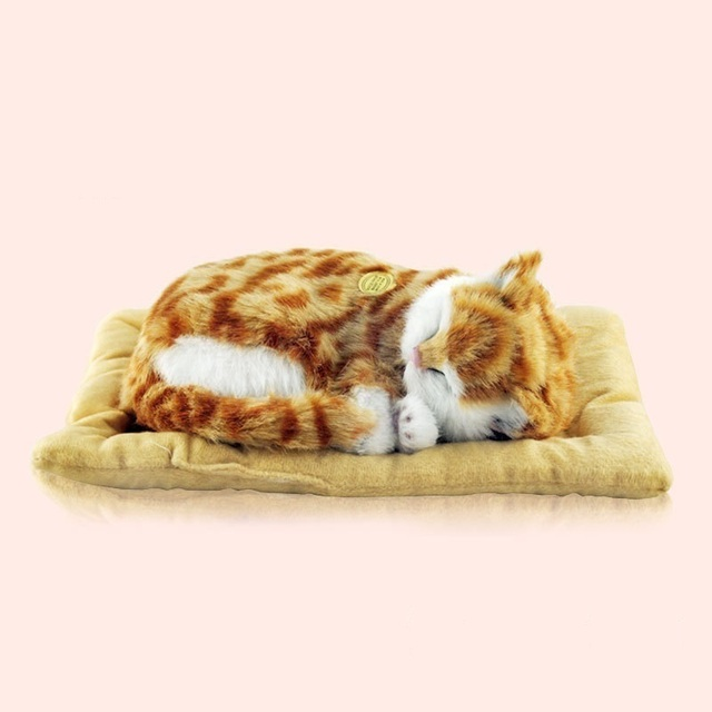 LIBLO Lifelike Breathing Sleeping Cat Belly Moves Up and Down Electronic Pet Kitten Kitty Children Toy Holiday Birthday Gift