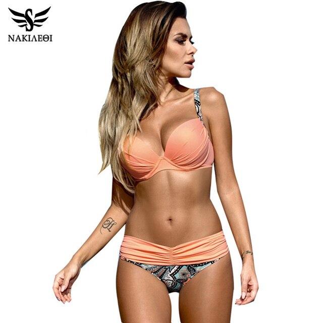 NAKIAEOI Sexy Bikinis Women Swimsuit 2018 Summer Low Waisted Bathing Suits Halter Top Push Up Bikini Set Plus Size Swimwear XXL 1