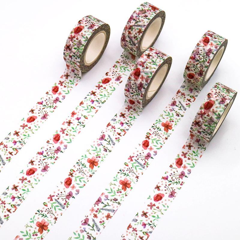 1 PCS Creative Poppy Flowers Washi Tape Adhesive Paper Tape School Office Supplies Decorative Masking Tape Sticker 15mm*10m