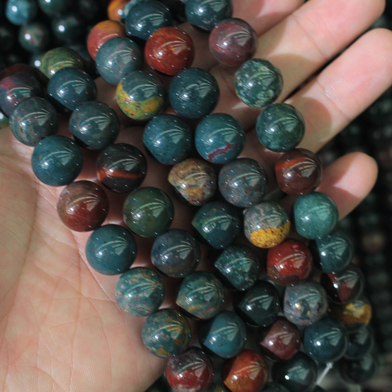 natural bloodstone/heliotrope beads natural stone beads DIY loose beads for jewelry making strand 15