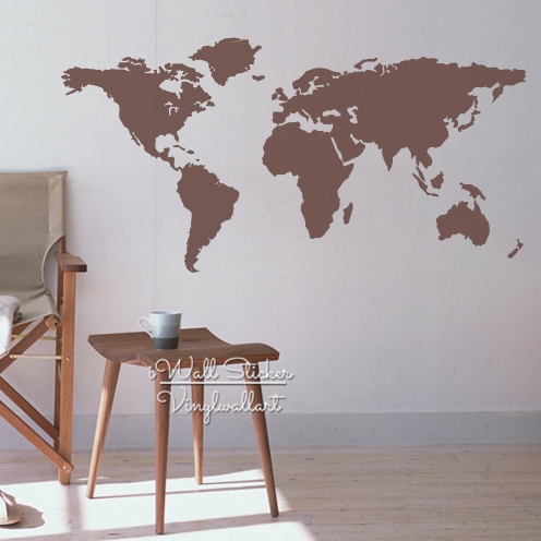 world map wall sticker, geographic map wall decal, diy removable