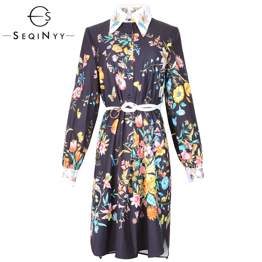 SEQINYY Fashion Dress 2019 Spring Summer New High Quality Beading Loose Knee Flowers Printed Dress Women with White Belt