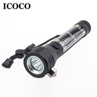 ICOCO Multifunctional Outdoor Camping Security Emergency Light Solar Powered LED Flashlight Safety Torch Light Survival Tool