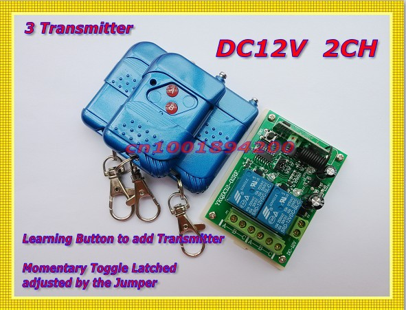 Access Control System DC12V 2CH RF Remote Control Keyless Switch Learning Code Momentary Toggle Latched 315/433.92MHZ new rf wireless switch wireless remote control system 2transmitter 12receiver 1ch toggle momentary latched learning code 315 433