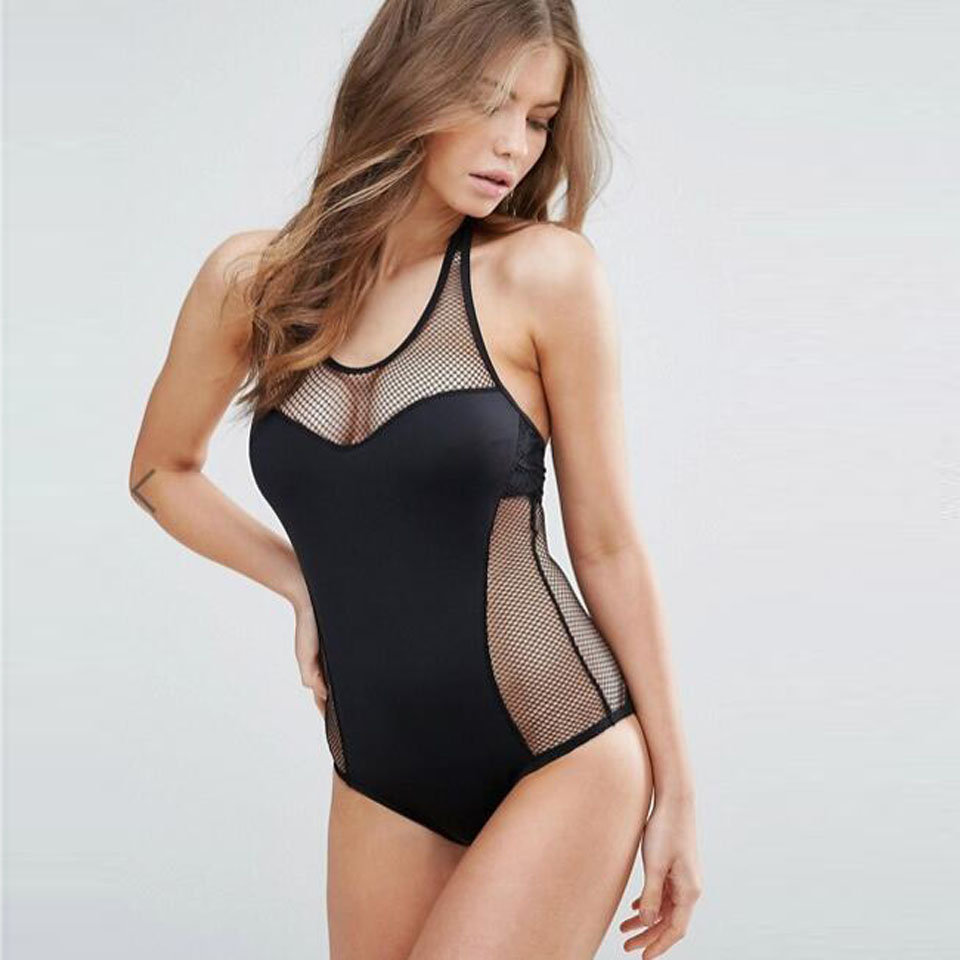 Sexy Mesh Maillot One Piece Swimsuit Solid Monokini Cut Out Swimwear Women Mesh Bathing Suit Bodysuit Hot Swim Beach Wear Female maillot
