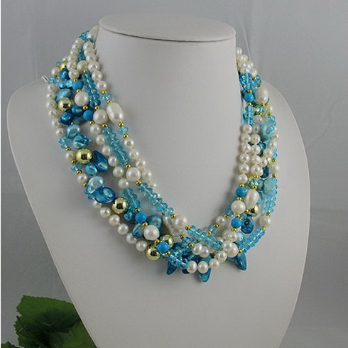 Unique Pearls jewellery Store,5rows Blue Crystal Real Freshwater Pearl Necklace,Charming Women Gift JewelryUnique Pearls jewellery Store,5rows Blue Crystal Real Freshwater Pearl Necklace,Charming Women Gift Jewelry