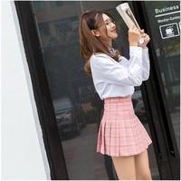 Winter Fashion Women Elegant Half Pleated Mini Skirts High Waist Casual School Uniforms Girls Plaids Pleated