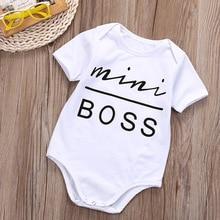eb19a22830d82 Mignon été bébé barboteuse MINI patron lettres impression globale à manches  courtes nourrissons tout-petits