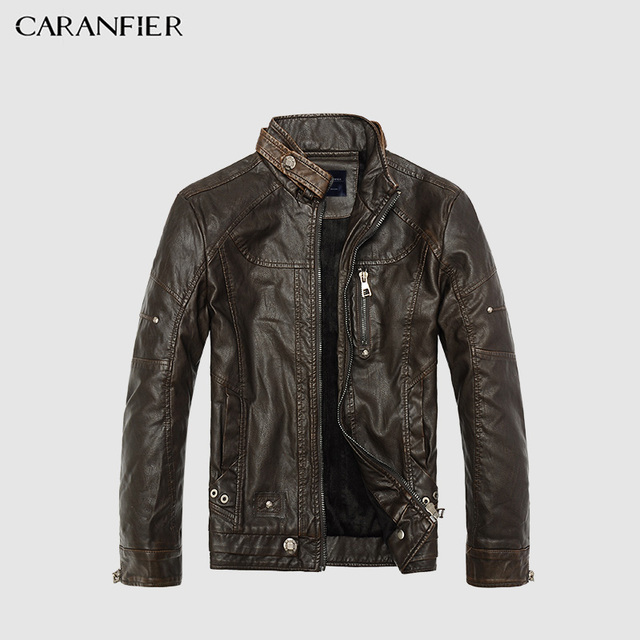 CARANFIER Men Jacket Winter Warm Leather Jackets Men Motorcycle Leather Coat Casual Zipper PU Jacket Slim Fit Stand Collar Coats Men's Jackets & Coats