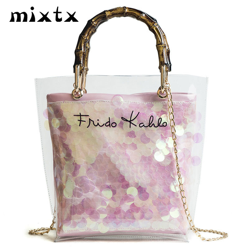 Hot Transparent Plastic Handbag Shoulder Bag Women Fashion Straw Bag Weaving Beach Tote Sweet Lady Jelly PVC Clear Composite Bag цена