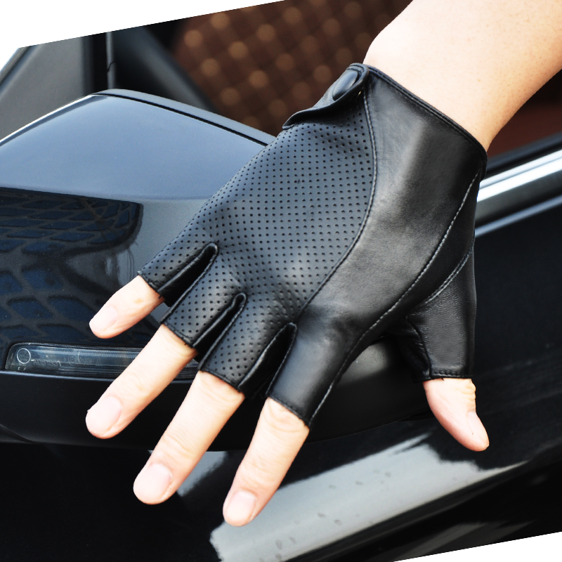 Genuine Leather Semi-Finger Men Gloves Half Finger Sheepskin Fashion Anti-Slip Breathable Driving Leather Gloves Unlined TB04