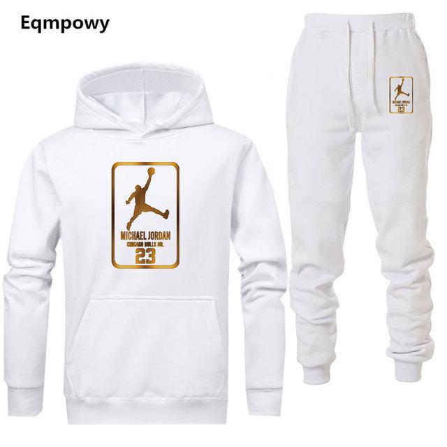 Mùa thu Bán Nam Bộ áo hoodies + quần Hai Miếng Bộ Áo Phù Hợp Với Áo Nam Cổ Áo Thể Dục Quần