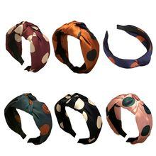 Korean Vintage Large Polka Dot Wide Headband Women Faux Silk Handmade Bowknot Hair Hoop Anti-Skid Teeth Pleated Accessory