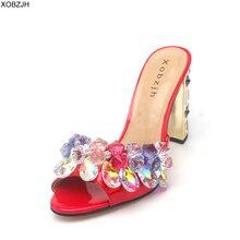 Summer Sandals women Shoes 2019 Luxury Rhinestone Open Toe Wedding Ladies Slip On High Heel Red Woman