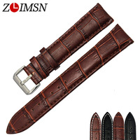 Genuine Leather Watch Strap 12mm 14mm High Quality Black Brown Woman Watchband With Silver Pin Buck