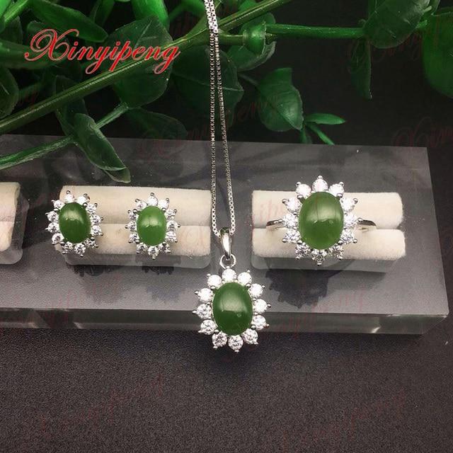 2086b974625d 100% Naturel jasper costume bijoux 925 Sterling argent Femelle bijoux De  Mode Plein humide Diana