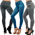 2016 New Arrival Autumn Summer Sexy Women Skinny Slim Faux Denim Look Jeans Jeggings Stretchy Pants