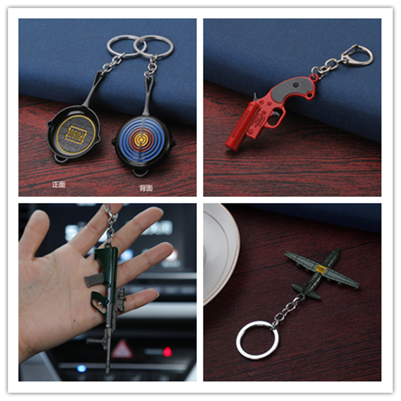 8 PUBG Playerunknown's Battlegrounds Chaveiro Weapons Llaveros Model Keychain Metal Alloy Holder For Souvenir Cosplay Props Key Ring