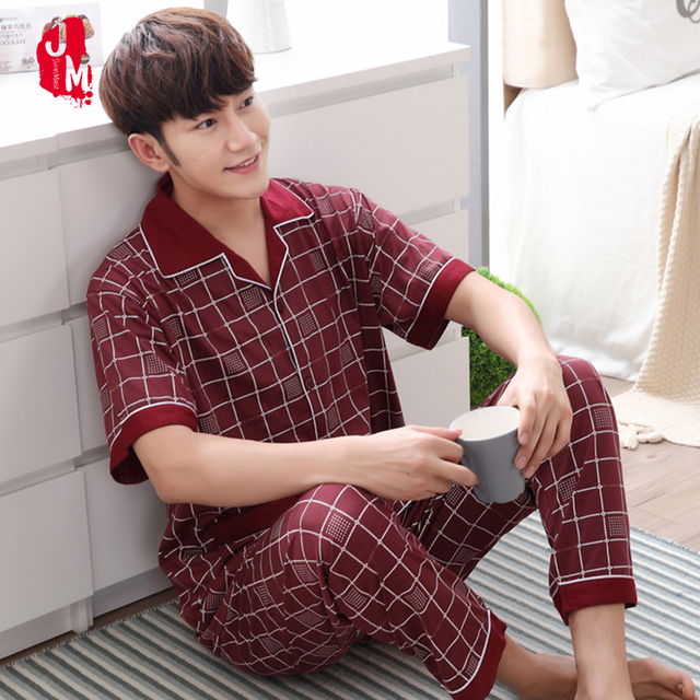 2018 summer men pajama set red sleepwear men suit Short sleeve pyjama men's pajamas sets cotton Plaid sleepwears men's coton 3XL