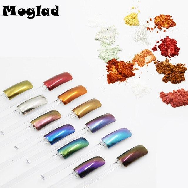 Moglad 12 colores espejo de uñas brillante glitter powder DIY ...