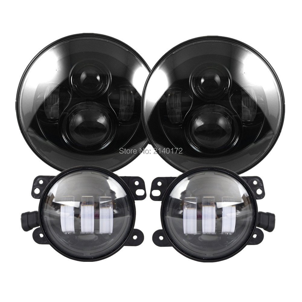 Black Bezel 40W High Power 7'' Round LED Headlight and 30W 4inch Round LED Fog Lamps for Jeep Wrangler JK Offroad windshield pillar mount grab handles for jeep wrangler jk and jku unlimited solid mount grab textured steel bar front fits jeep