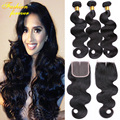 Indian Body Wave With Closure 3 Bundles Indian Virgin Hair Body Wave With Closure 8a Grade Unprocessed Human Hair Weave