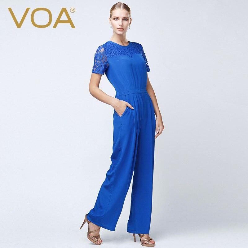 VOA Europe Silk Lace Stitching A Slender Siamese Pants Fashion Blue Straight Jumpsuit K5090
