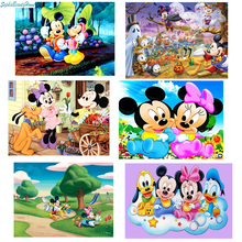 Sophie Beauty Home 5D Diamond Cartoon Mickey Minnie Cross Stitch 3D Crystal Full Decoration Diy Måleri Mosaic Pattern