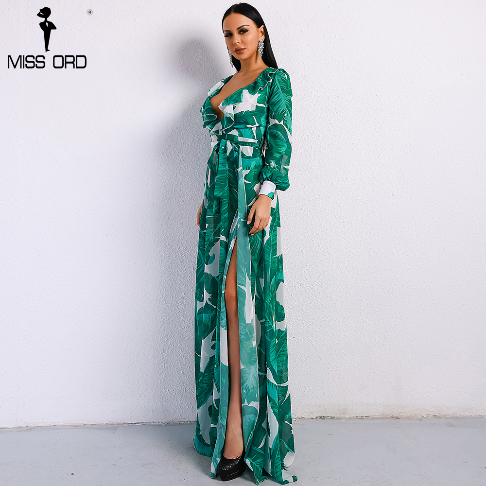Missord 2018 Summer Deep V Two Split Print Beach Dress Kafftan Long Sleeve Ruffle Seaside Maxi Dress FT9106