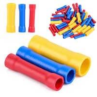 50 peças sortidas isolado conectores de extremidade reta terminais de cabo de fio de friso elétrico definir vermelho azul amarelo