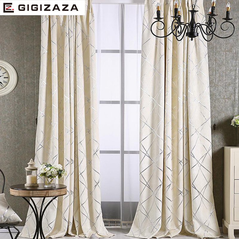 Image 3 - Blackout Jacquard Fabric for Curtains for the Living room Custom  Size Ivory Grey Tan American Style the Curtains On the Windowfabric for  curtainscurtains in the kitchencurtains for
