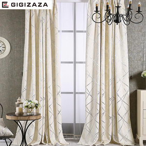 Image 3 - Blackout Jacquard Fabric for Curtains for the Living room Custom Size Ivory Grey Tan American Style the Curtains On the Window