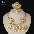 High Quality Jewelry Sets18K Gold Folwer Pendant Necklace Earrings Bracelet Dubai Gold Plated African Costume Jewelry Sets Women