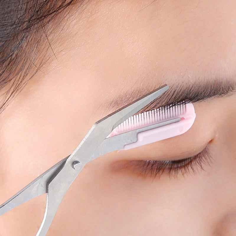 メイクピンク眉毛トリマーはさみ櫛脱毛鋏櫛グルーミング化粧品ツールまつげコーミング