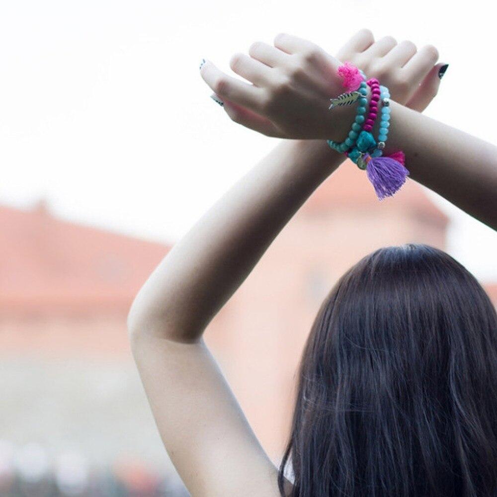 eManco stretch bohemia bracelet for women's crystal wood beads tassels charms bracelets & bangle with stone 18 colors