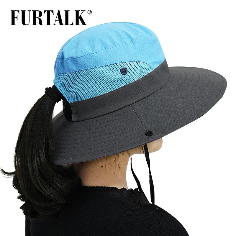 dea1d2345 US $8.5 40% OFF FURTALK Safari Sun Hats for Women Summer Wide Brim UV UPF  Ponytail Outdoor Hunting Fishing Hiking Hat SH053-in Sun Hats from Apparel  ...