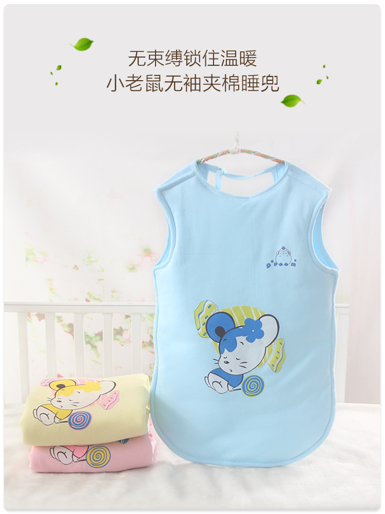 Winter Cotton Cartoon Mouse Sleeveless Quilted Children Sleeping Bag Long Thick Warm Sleeping Bag in Sleepsacks from Mother Kids