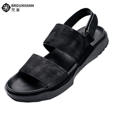 Pure Black Retro Genuine Leather British Style Mens Hook Loop Sandal Business Man Summer Outdoor Casual Shoes