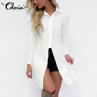 CELMIA Fashion Sexy Women Shirts 2017 New Style Long Sleeve Lapel Side Split Solid Blouse Ladies