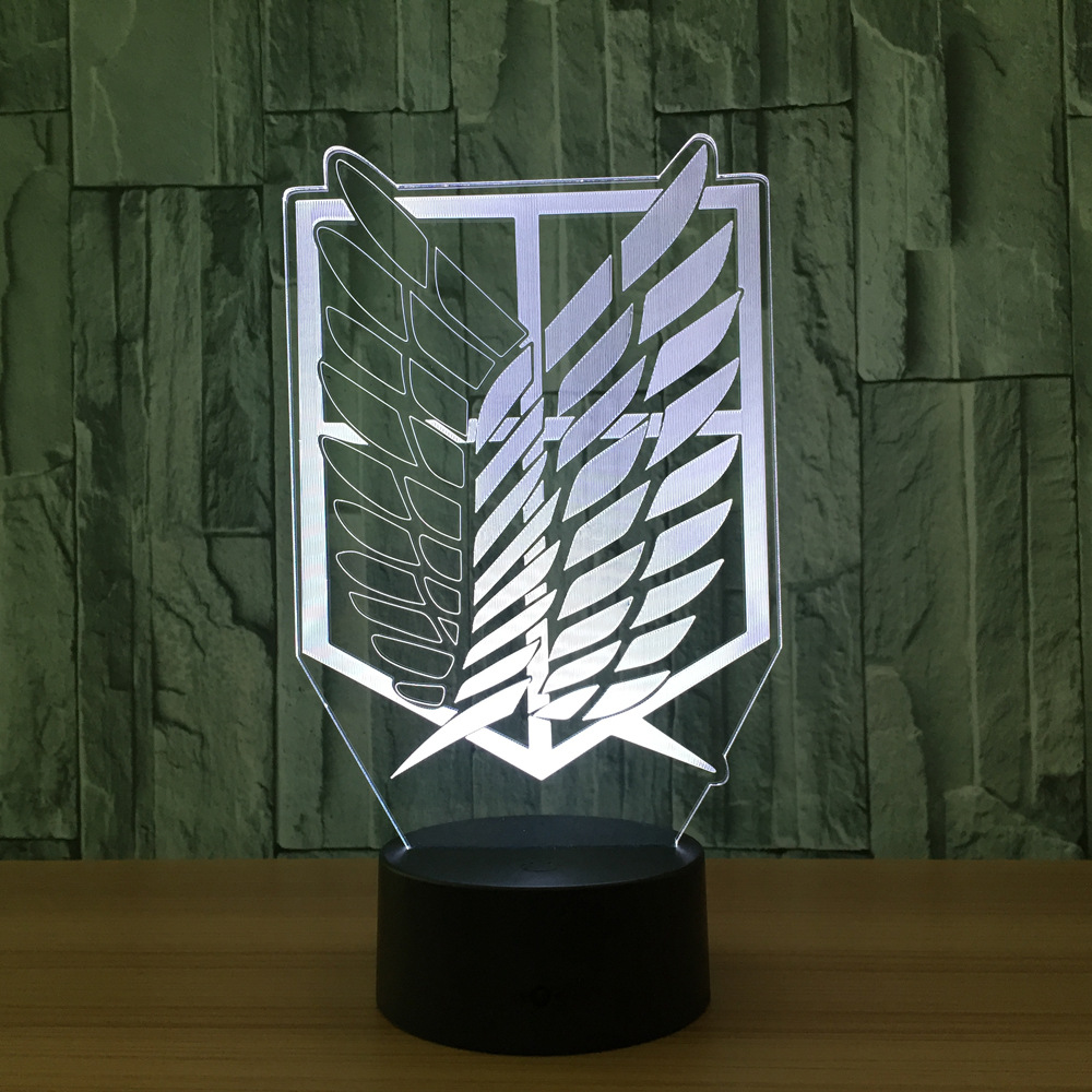Attack On Titan Badge 3d Novelty Led Nightlight Home Decor
