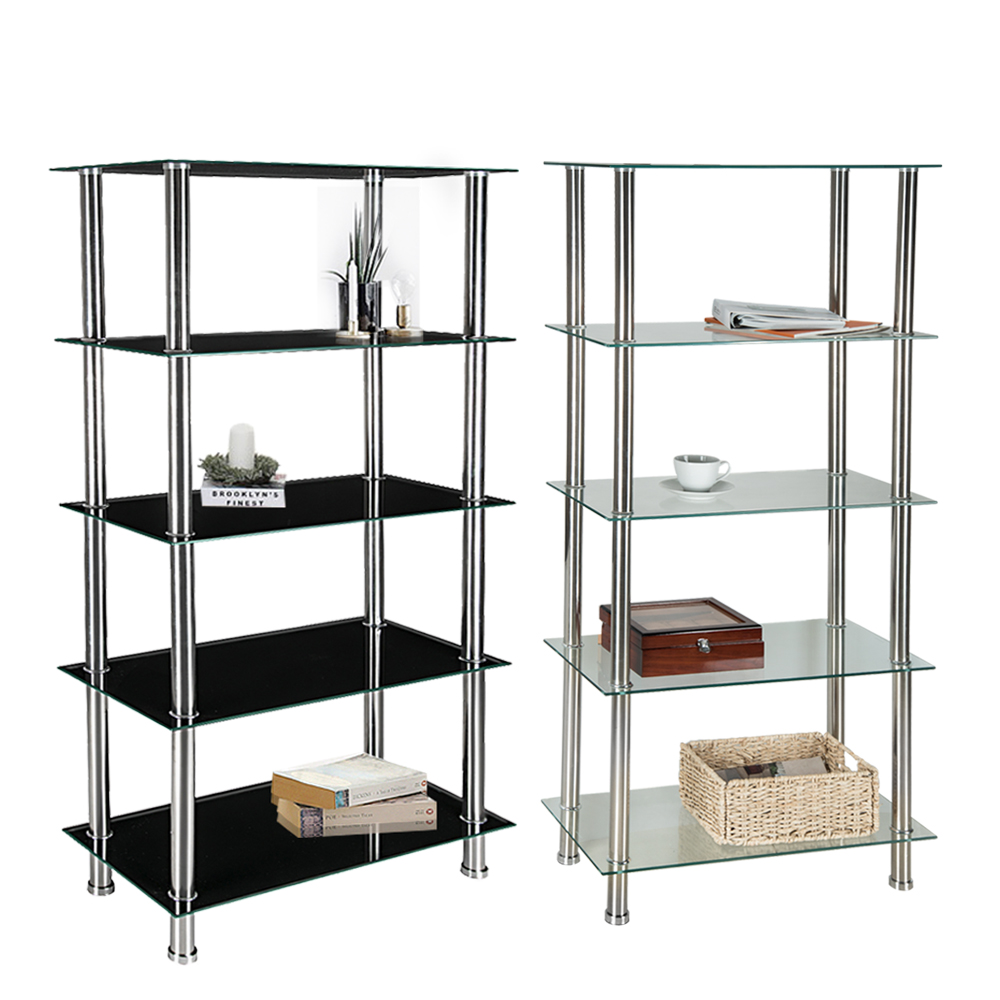 living room glass shelves paint with brown leather furniture 5 tier shelf unit display table storage chrome legs dropshipping