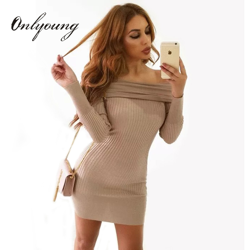 Onlyoung Off Shoulder Knitted Dress 2017 Autumn Winter Long Sleeve Elegant Lady Wrap Dress Knitwear Sexy Bodycon Sweater Dress