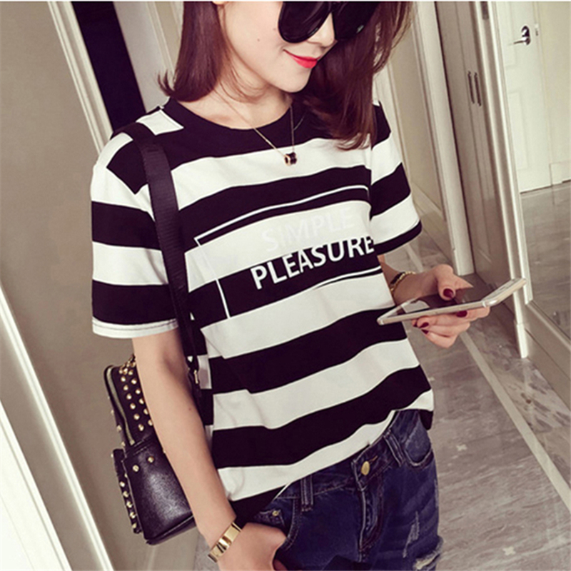 79d12cdf 2019 Korean Pop Summer Harajuku Loose Letter Wide Striped T shirt Women  Casual Short Sleeve T shirt Ladies Slim Top Female S XL-in T-Shirts from  Women's ...