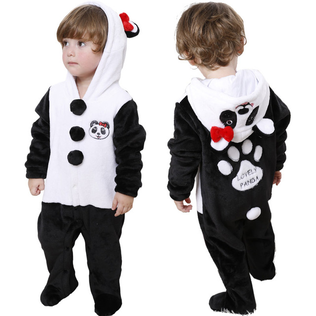 2017 Baby Coral fleece Overalls Newborn pajamas Infant Toddler Cute Panda Character Hooded Jumpsuit Outerwear Clothing Footies