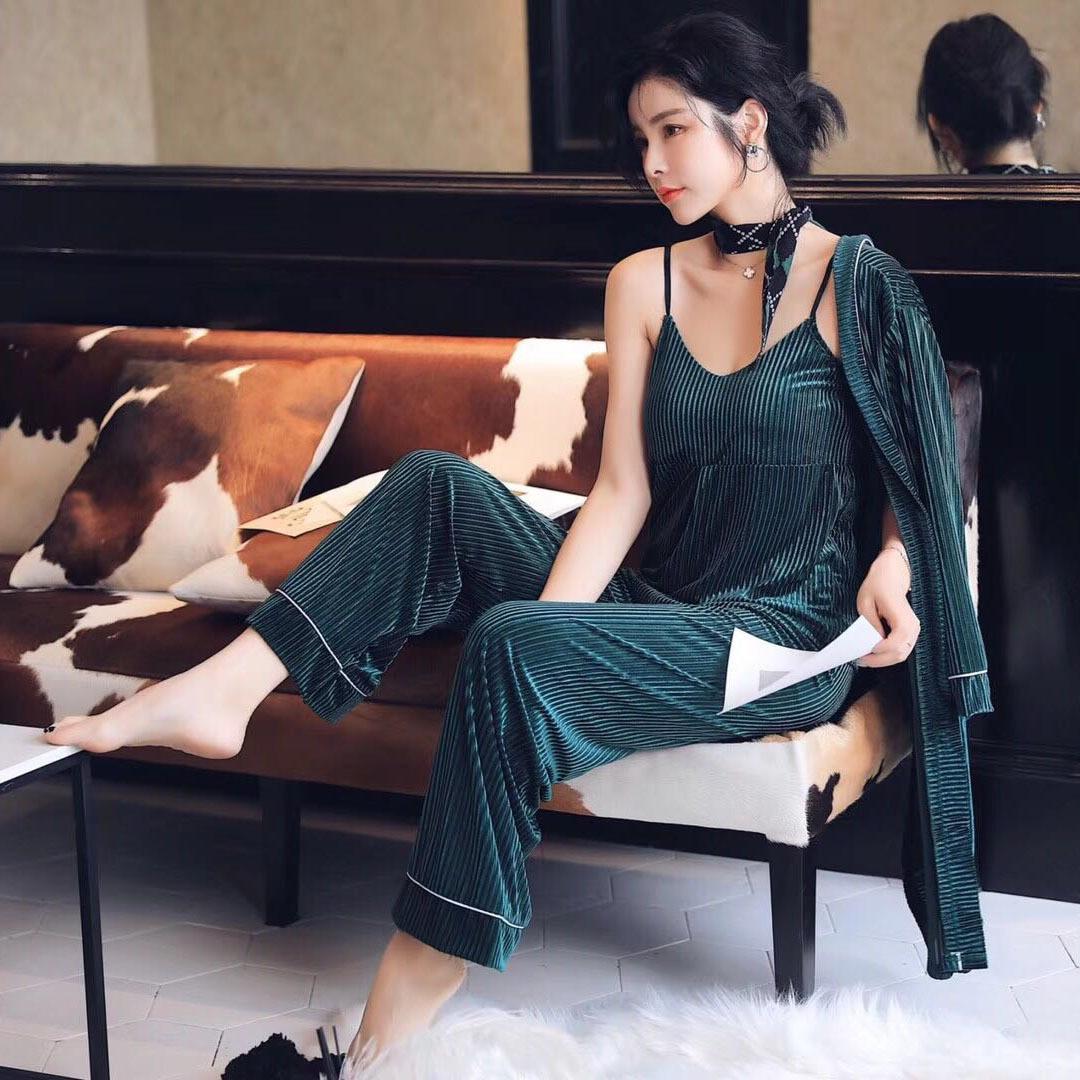 Female Fashion Solid Stripe 3PCS   Pajamas     Set   Winter Kimono Bathrobe Gown Sexy Nightwear Negligee Long Sleeve Velvet Home Wear