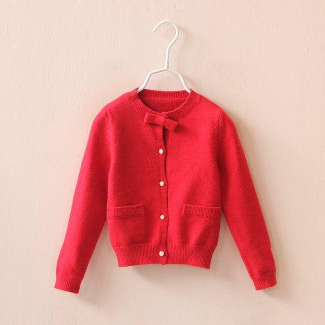 Девушка кардиган классические свитера для девочек вязаный с хлопок полный рукав детская Sweatercoat для детей 2 - 8 лет