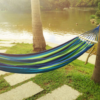 240x150CM Double Person Hammock Canvas Camping Hammocks Wooden Stick Prevent Rollover Bar Garden Camping Swing Hanging
