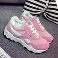 Mujeres zapatos casuales aumento sólido 2017 de las mujeres zapatos tenis femenino de masaje impermeable de tela de algodón con cordones super star zapatos